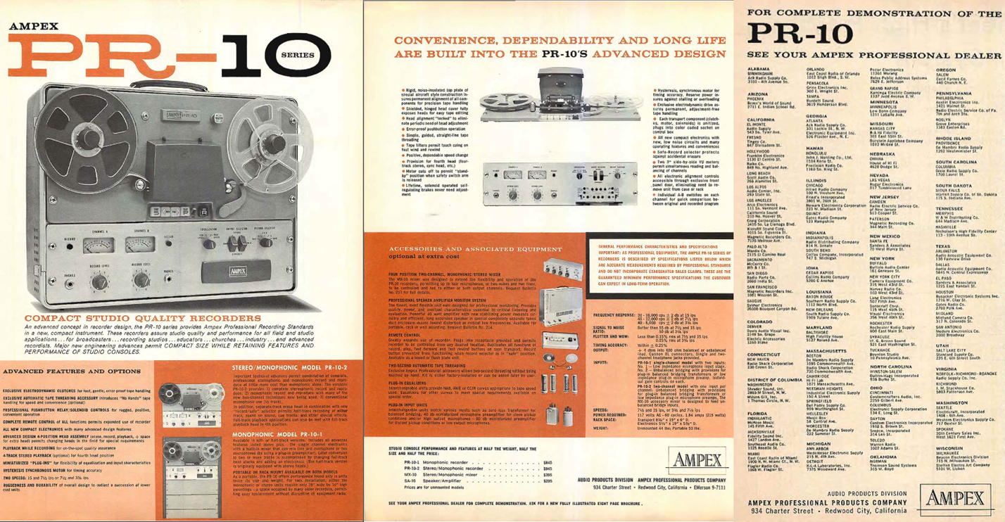 1960 ad for the Ampex PR-10 professional reel to reel tape recorder in the Reel2ReelTexas.com's vintage recording collection