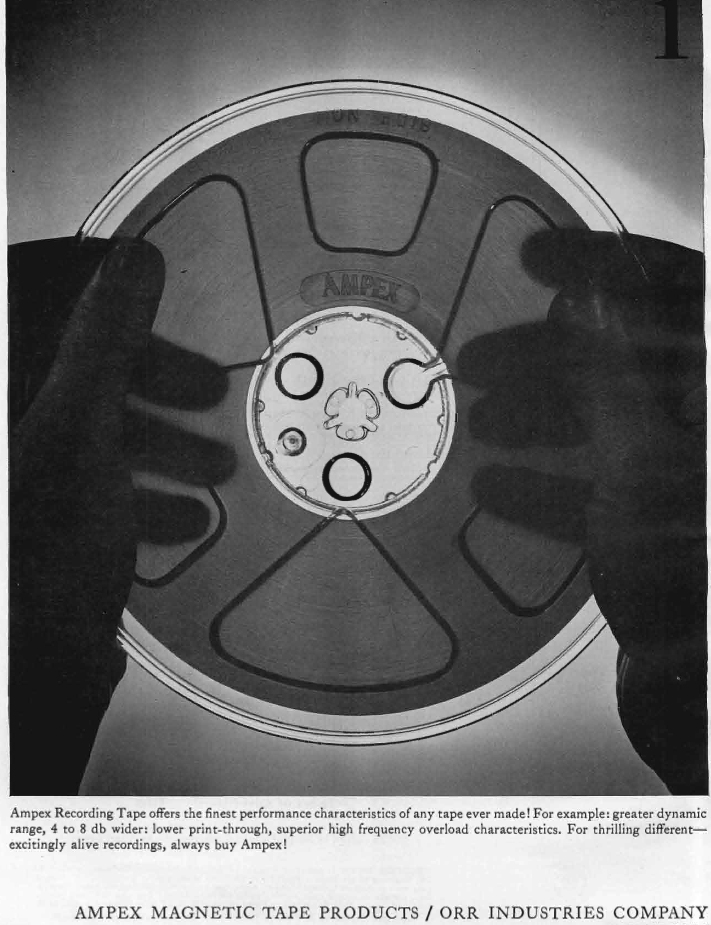 1960 ad for Ampex reel tape recording tape in the Reel2ReelTexas.com's vintage recording collection
