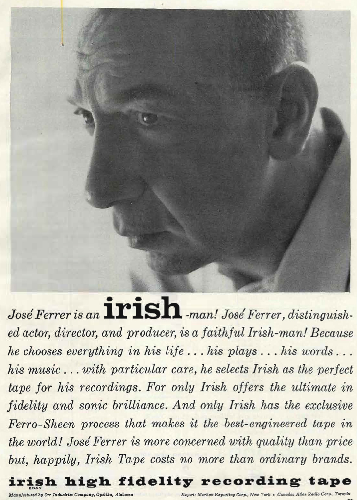 1960 ad forAmpex Irish reel tape recording tape featuring Jose Ferrer in the Reel2ReelTexas.com's vintage recording collection