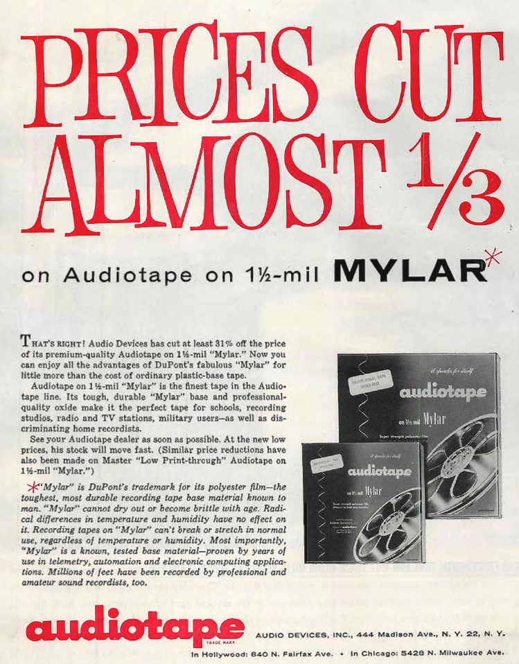 1960 AudioTape ad in the Reel2ReelTexas.com's vintage recording collection