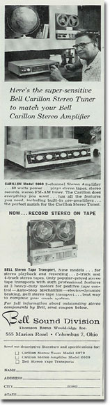 1960 Bell tape recorder ad in Reel2ReelTexas.com's vintage recording collection