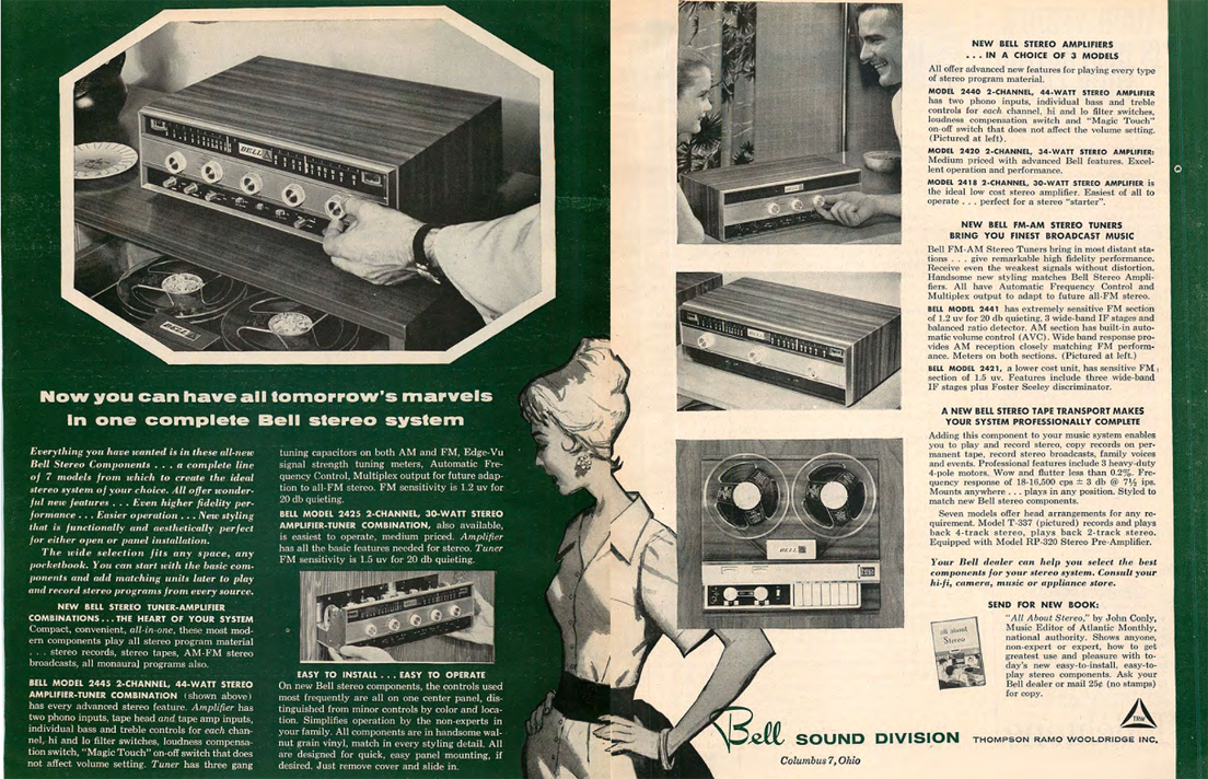 1960 Bell tape recorder and Bell components ad in Reel2ReelTexas.com's vintage recording collection