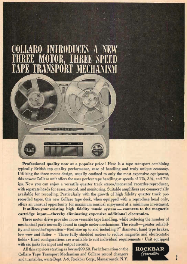 1960 ad for the Callero reel to reel tape recorder in the Reel2ReelTexas.com's vintage recording collection