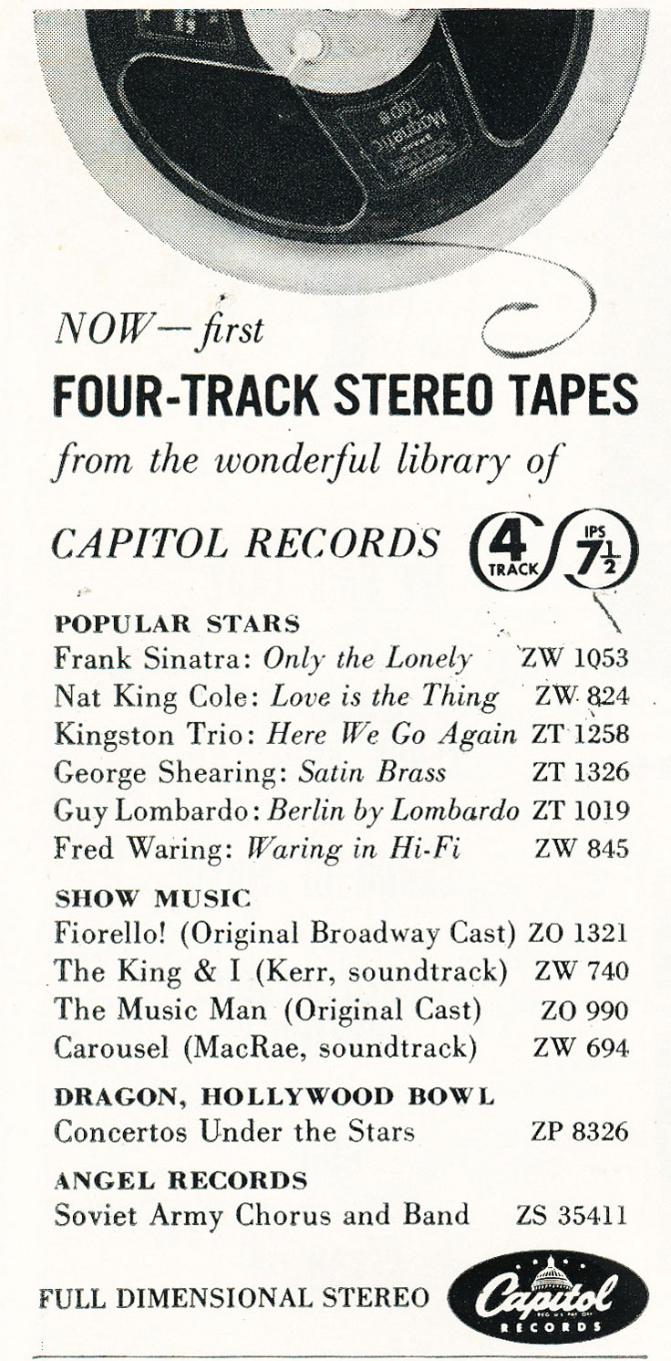 1960 ad for Capital Records in Reel2ReelTexas.com's vintage recording collection