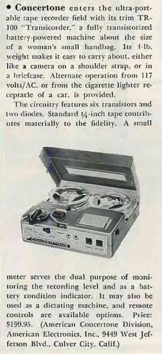 1960 ad for the Concertone TR100 reel to reel tape recorder in the Reel2ReelTexas.com's vintage recording collection