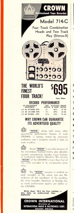 1960 Crown tape recorder ad in Reel2ReelTexas.com's vintage recording collection