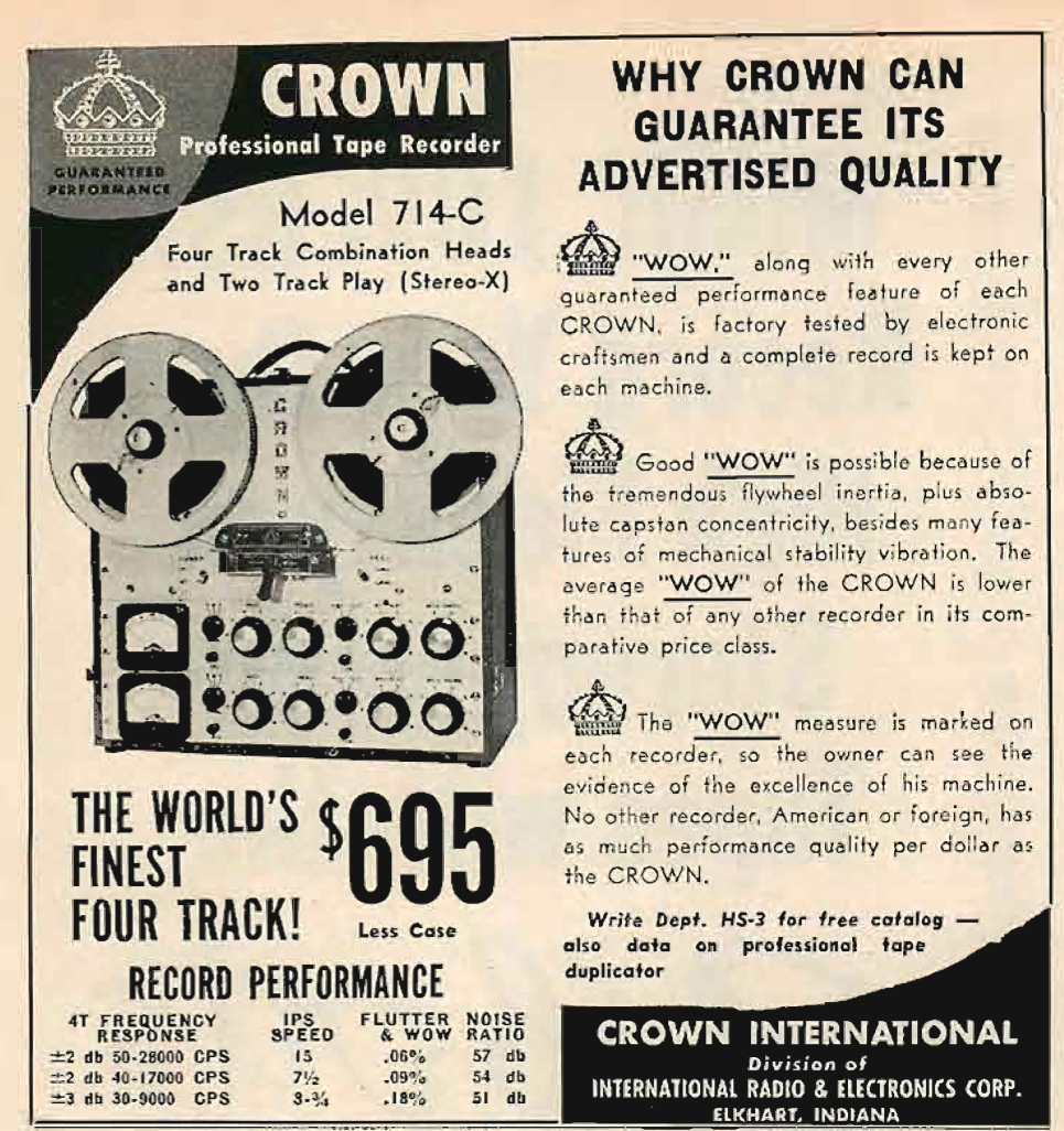 1960 Crown 714-C tape recorder ad in Reel2ReelTexas.com's vintage recording collection