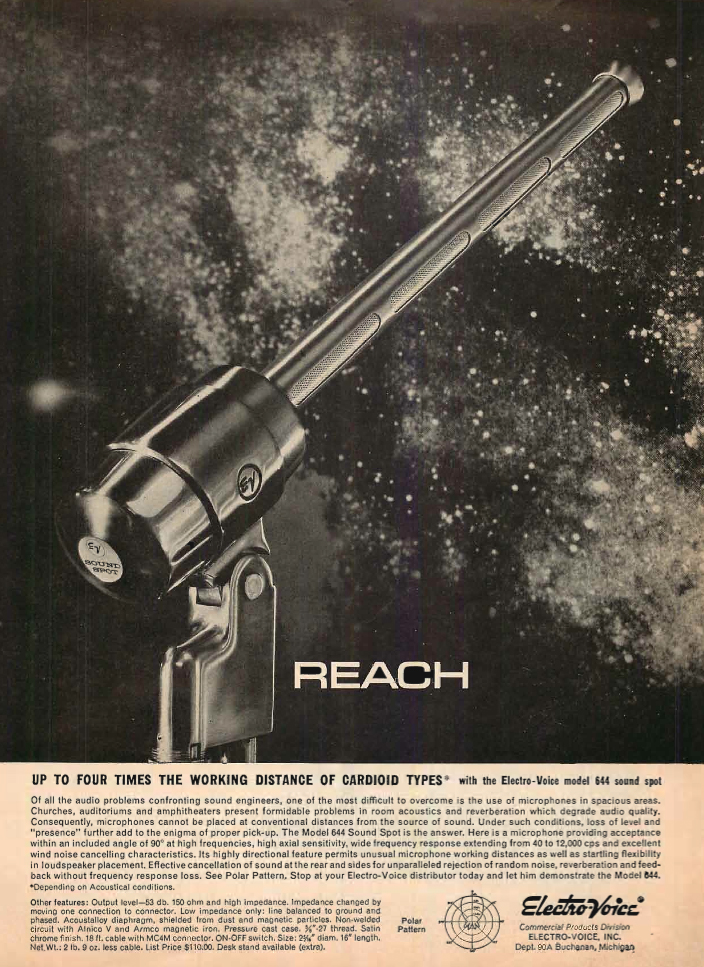 1960 ad for the Electro Voice 644 microphone in the Reel2ReelTexas.com's vintage recording collection