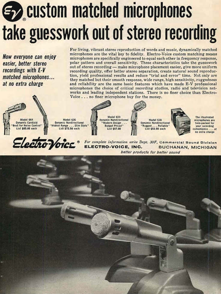 1960 ad for Electro Voice matched microphones in the Reel2ReelTexas.com's vintage recording collection
