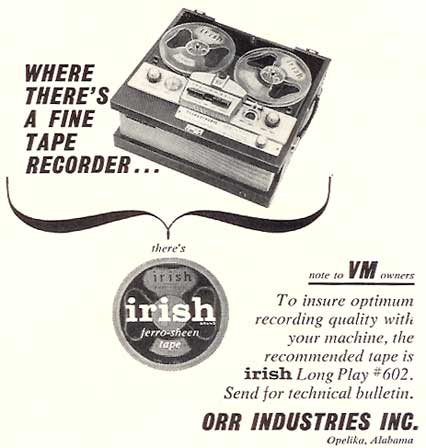1960 Irish recording tape ad in Reel2ReelTexas.com's vintage recording collection