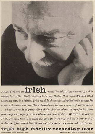 Irish recording tape ad with Arthur Fiedler in Phantom Productions' vintage tape recording collection