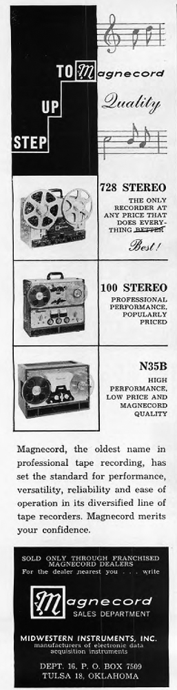 1960 ad for the Magnecord 72B reel to reel tape recorder in Reel2ReelTexas.com's vintage recording collection