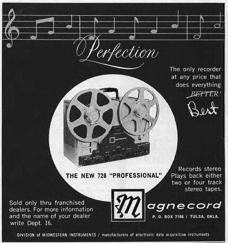 1960 ad for the Magnecord 728 reel to reel tape recorder in Reel2ReelTexas.com's vintage recording collection