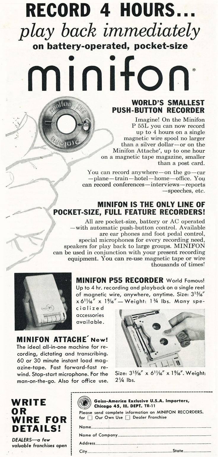 1960 ad for the Minifon reel to reel tape recorder in   Reel2ReelTexas.com's vintage recording collection