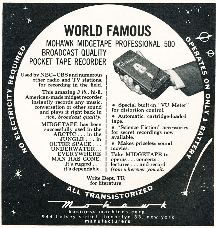 1960 ad for the Mohawk reel to reel tape recorder in Reel2ReelTexas.com's vintage recording collection