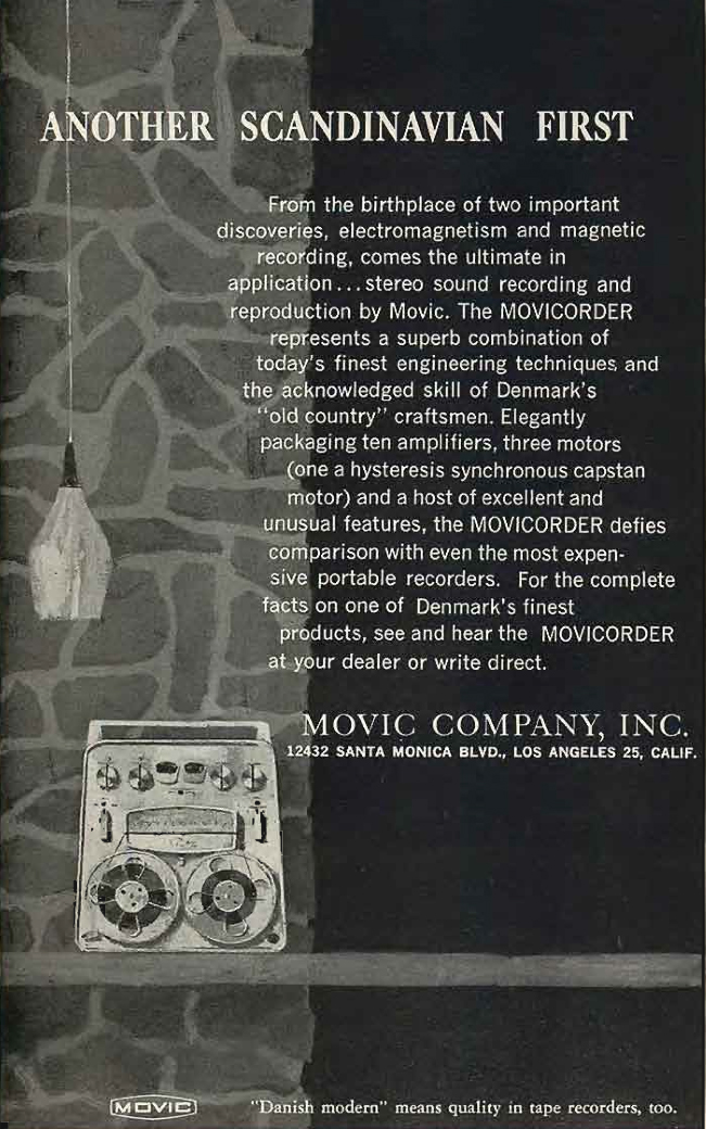 1960 ad for the Swedish Movic reel to reel tape recorder in   Reel2ReelTexas.com's vintage recording collection