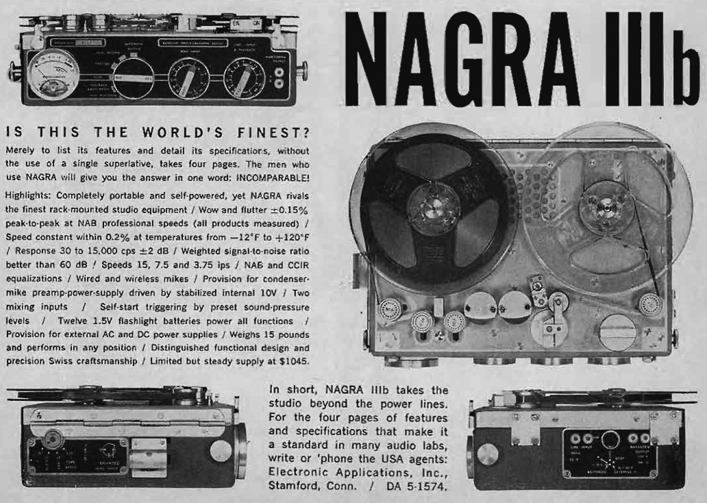 1960 ad for the Nagra III professional  reel to reel tape recorder in   Reel2ReelTexas.com's vintage recording collection