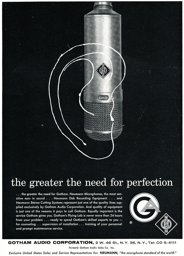 1960 ad for the Nuemann microphone in Reel2ReelTexas.com's vintage recording collection