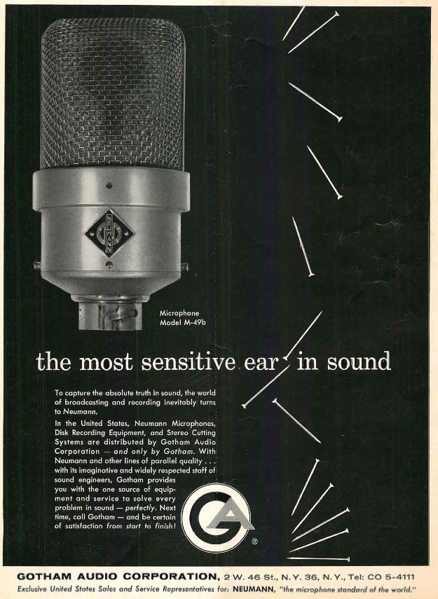 1960 ad for the Nuemann M-49B microphone in Reel2ReelTexas.com's vintage recording collection