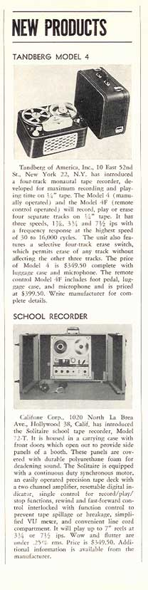 1960 New tape recording products in Reel2ReelTexas.com's vintage recording collection