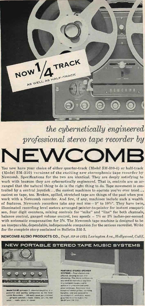 1960 Newcomb SM-310 tape recorder ad in Reel2ReelTexas.com's vintage recording collection