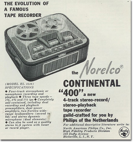 1960 Norelco reel to reel tape recorder  ad in the Phantom productions' vintage recording collection