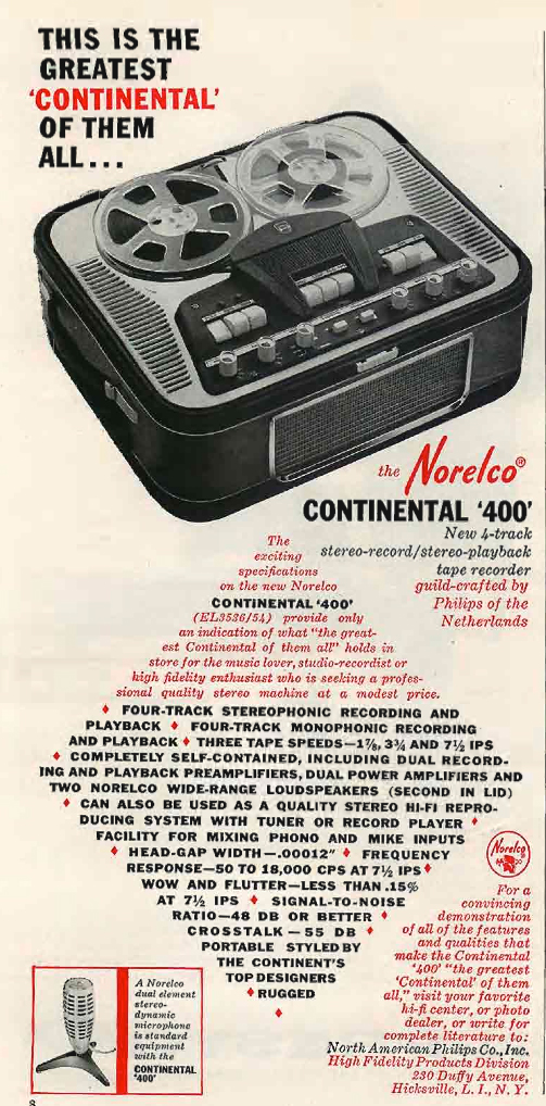 1960 Norelco 400 Continental  reel to reel tape recorder and Norelco stereo microphone ad in the Reel2ReelTexas.com's vintage recording collection