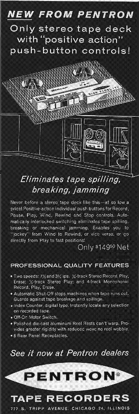 1960 Pentron tape recorder ad in Reel2ReelTexas.com's vintage recording collection