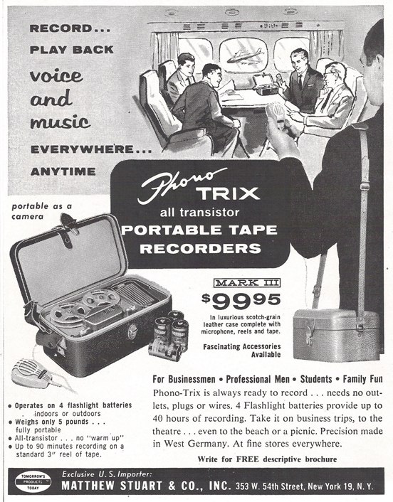 1960 ad for the Phono Trix tape recorder  in Reel2ReelTexas.com's vintage recording collection
