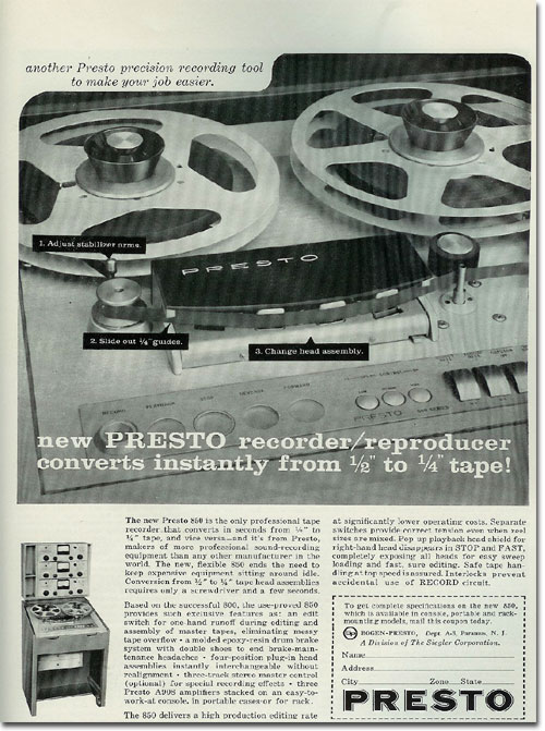 Bogan Presto ads from 1960 in the Museum of Magnetic Sound Recording