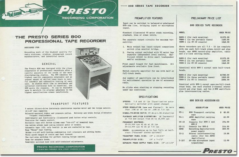 picture of Presto Pro Series 800 tape recorder