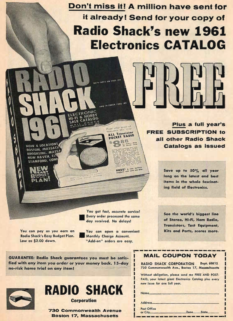 1960 Radio Shack catalog ad in Phantom Productions' vintage tape recording collection