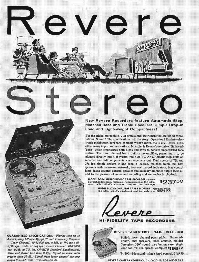 1960 Revere tape recorder ad in Reel2ReelTexas.com's vintage recording collection