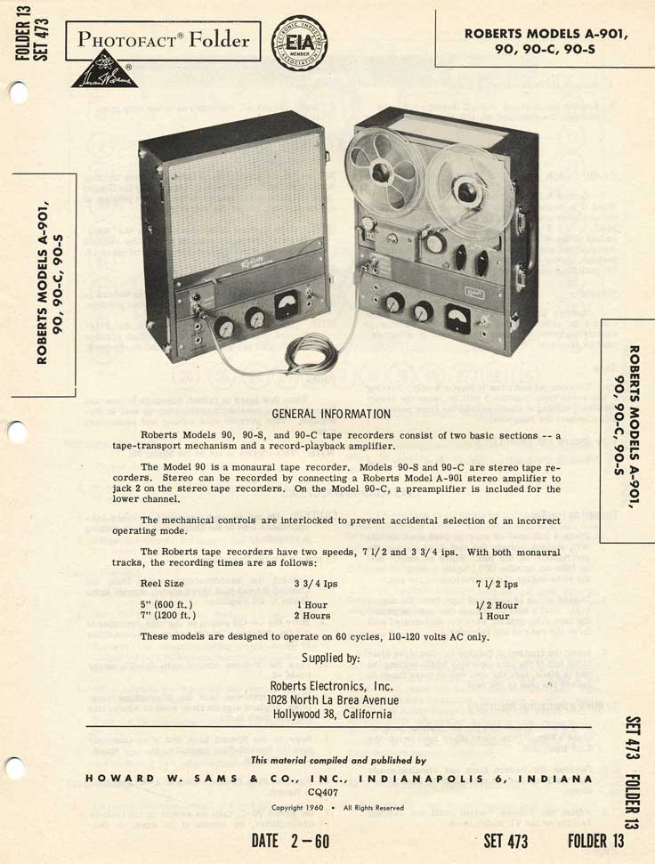 1960 Fact sheet for the Roberts 90 series reel tape recorders in Reel2ReelTexas.com's vintage recording collection