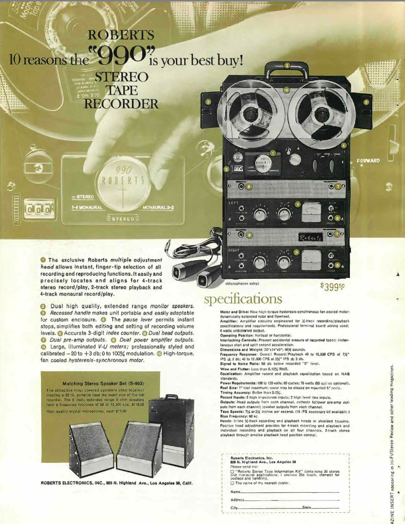 1960 ad for the Roberts 990 series reel tape recorders in Reel2ReelTexas.com's vintage recording collection
