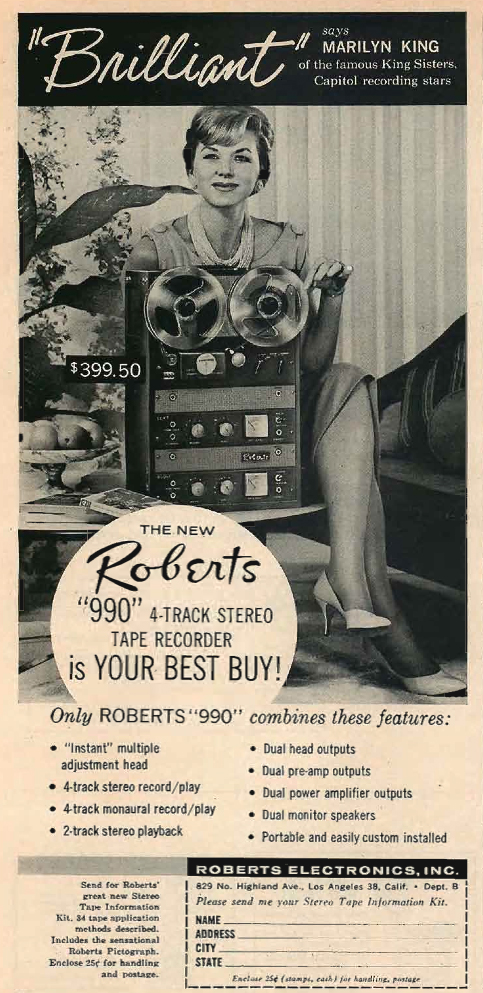 1960 ad for the Roberts 990 series reel tape recorders featuring Marilyn King in Reel2ReelTexas.com's vintage recording collection