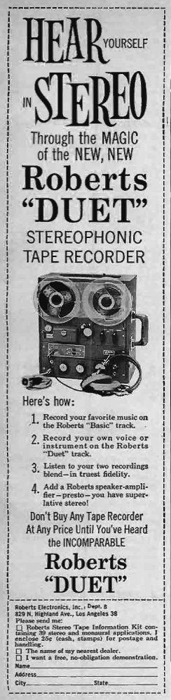 1960 ad for the Roberts Duet reel tape recorders in Reel2ReelTexas.com's vintage recording collection