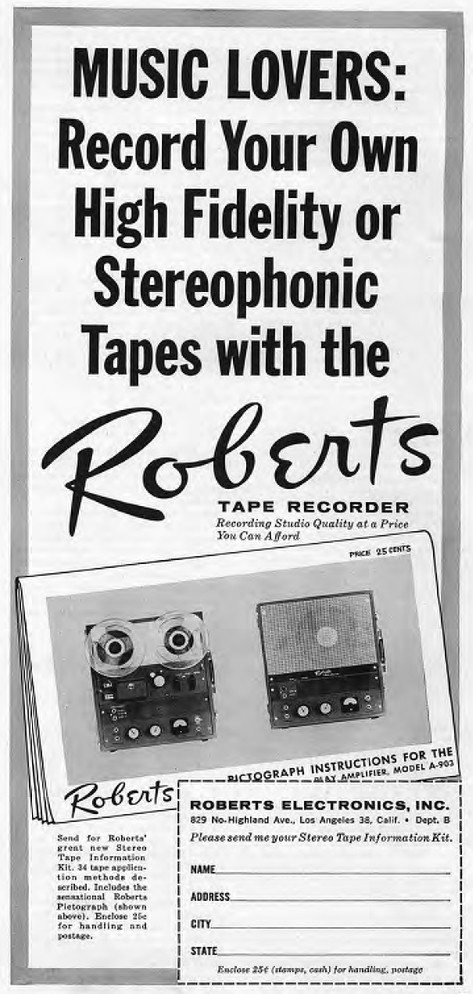 1960 ad for the Roberts 90 series reel tape recorders in Reel2ReelTexas.com's vintage recording collection
