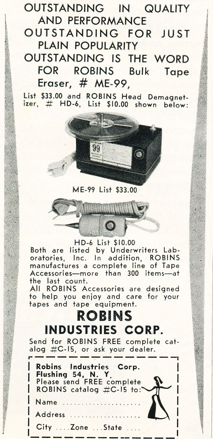 another 1960 ad for Robins reel to reel tape recorder accessories in Reel2ReelTexas.com's vintage recording collection