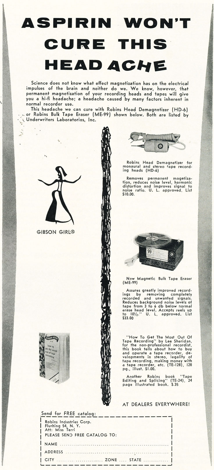 1960 ad for Robins reel to reel tape recorder accessories in Reel2ReelTexas.com's vintage recording collection