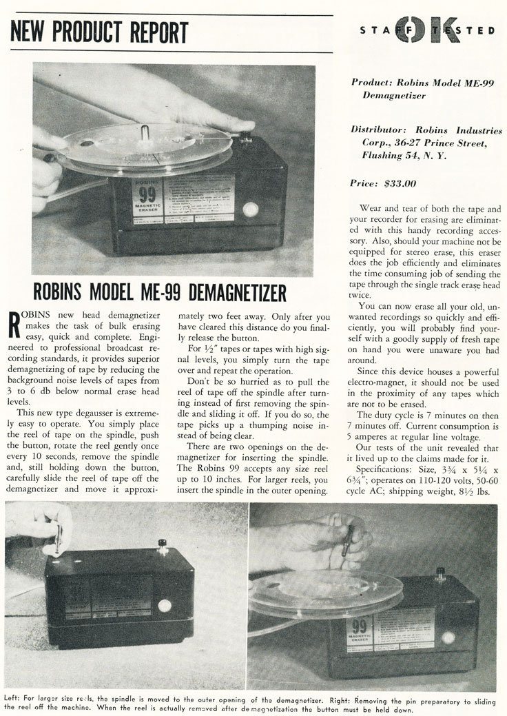 1960 ad for the Robins demagnitizer in Reel2ReelTexas.com's vintage recording collection