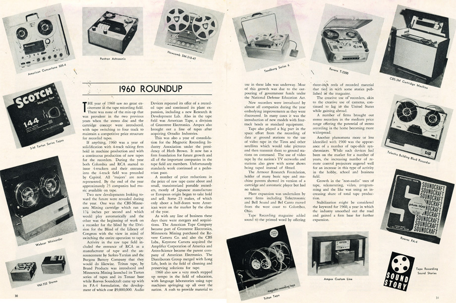 1960 roundup of reel to reel tape recorders in Reel2ReelTexas.com's vintage recording collection