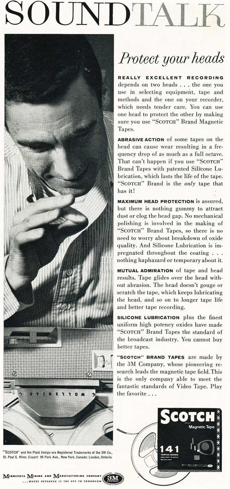 1960 ad for the 3M Scotch brand reel to reel recording tape in Reel2ReelTexas.com's vintage recording collection