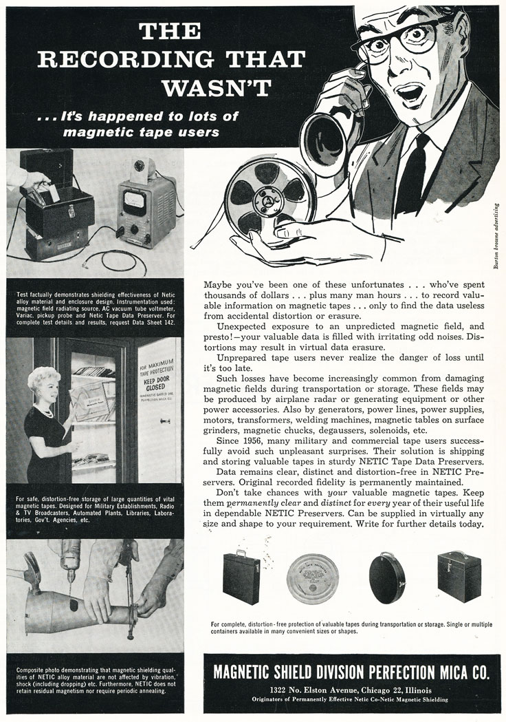 1960 magnetic Shield ad in Reel2ReelTexas.com's vintage recording collection