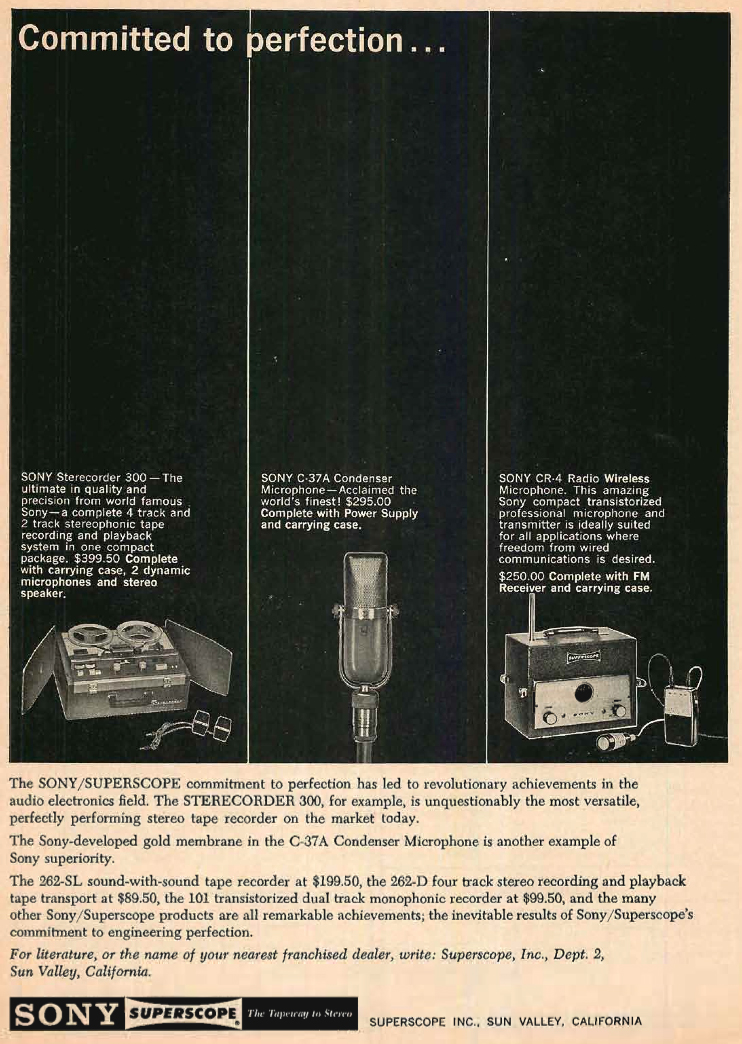 1960 ad for the Sony 555 reel to reel tape recorder and the CR-4 wireless microphone and  C37A microphone in Reel2ReelTexas.com's vintage recording collection