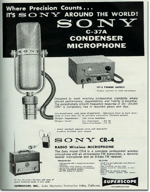 1960 ad for the Sony C37A microphone in Reel2ReelTexas.com's vintage recording collection