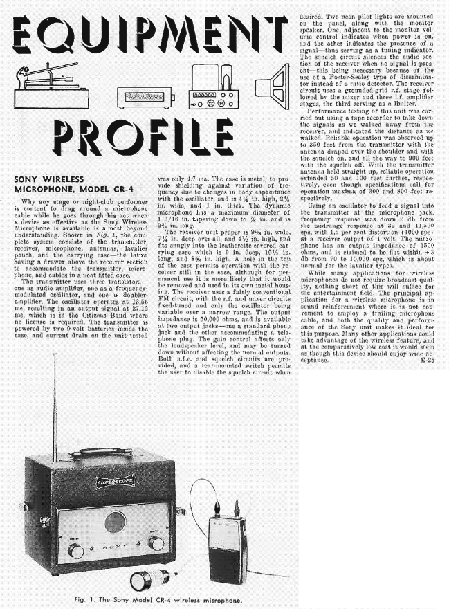 1960 review of the Sony CR4 wireless microphone in Reel2ReelTexas.com's vintage recording collection