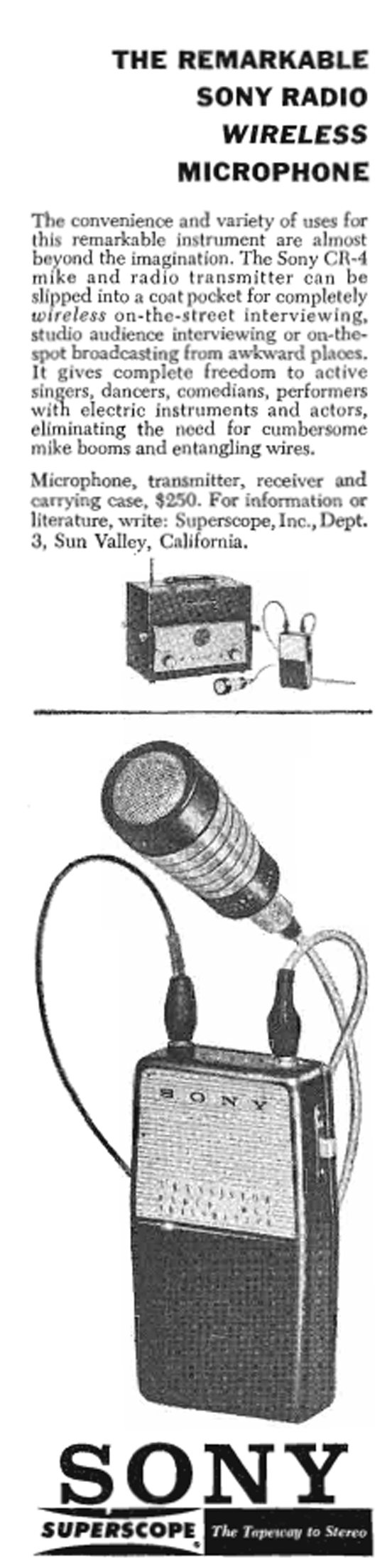 1960 ad for the Sony CR4 wireless microphone in Reel2ReelTexas.com's vintage recording collection