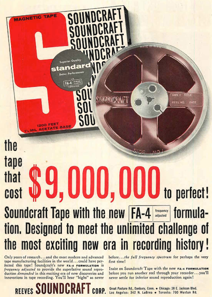 1960 ad for Reeves Soundcraft FA-4 reel to reel recording tape in Reel2ReelTexas.com's vintage recording collection
