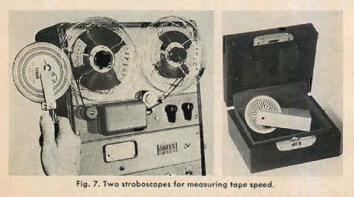 1960 photo of strobes that may used to time reel to reel tape recorders